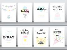 Satz Glückwunschkarten, Einladung, Plakat, Gruß, Schablone, Tiere, Kuchen, Kerze, poper, Vektorillustrationen Stockfoto
