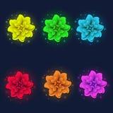 Satz glühende Blumen des Vektors Stockfotografie