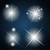 Satz glühende Licht-Sterne mit Schein-Vektor Lizenzfreies Stockfoto