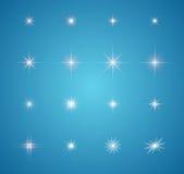 Satz glühende Lichteffektsternexplosionen Stockfotos