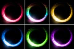 Satz glühende Ringe Stockbilder