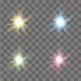 Satz GlühenLichteffekte Sterne, Scheine oder Partikel Vektor Lizenzfreie Stockfotografie