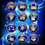 Satz glatte runde Tierkreisikonen mit Goldlinearen Symbolen auf Blauem stock abbildung