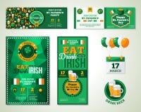 Satz glücklichen St Patrick Tagesder gruß-Karte oder Lizenzfreie Stockfotografie