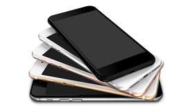 Satz Gold mit fünf Smartphones, stieg, versilbert, schwärzt und schwärzt Polier Lizenzfreie Stockfotografie