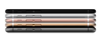 Satz Gold mit fünf Smartphones, stieg, versilbert, schwärzt und schwärzt Polier Lizenzfreies Stockfoto