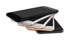 Satz Gold mit fünf Smartphones, stieg, versilbert, schwärzt und schwärzt Polier Lizenzfreies Stockbild