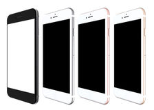 Satz Gold mit vier Smartphones, stieg, Silber und Schwarzes Stockbilder