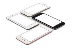 Satz Gold mit vier Smartphones, stieg, Silber und Schwarzes Lizenzfreie Stockbilder