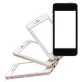 Satz Gold mit vier Smartphones, stieg, Silber und Schwarzes mit leerem Bildschirm Lizenzfreie Stockbilder