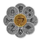 Satz Gold und silberne Schlüsselwährungen Stockbild
