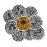 Satz Gold und silberne Schlüsselwährungen Lizenzfreies Stockbild