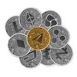 Satz Gold und silberne Schlüsselwährungen Stockbilder