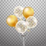 Satz Gold, weißer transparenter Heliumballon in der Luft Bereifte Parteiballone für Ereignisdesign Parteidekorationen für Stockbilder