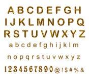 Satz Goldbuchstaben und -zahlen auf weißem Hintergrund Lizenzfreie Stockbilder