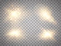 Satz goldene glühende Lichteffekte lokalisiert auf transparenten Hintergrund Lichteffekt des Glühens Stern-Explosion mit Scheinen