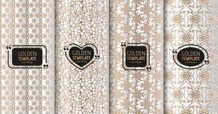 Satz goldene Luxusschablonen Abstrakter geometrischer Hintergrund mit Blumen Auch im corel abgehobenen Betrag Stockfotos