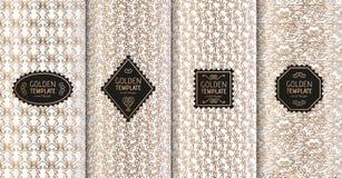 Satz goldene Luxusschablonen Abstrakter geometrischer Hintergrund mit Blumen Auch im corel abgehobenen Betrag Lizenzfreies Stockbild