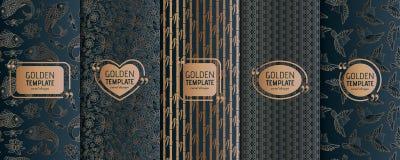 Satz goldene Luxusschablonen Abstraktes geometrisches Stockbilder