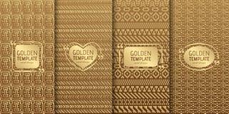 Satz goldene Luxusschablonen Abstraktes geometrisches Stockbild