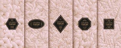 Satz goldene Luxusschablonen Goldherbstlaub Hintergrund Stockfoto