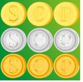 Satz goldene, silberne und Bronzemünzen Stockfotos
