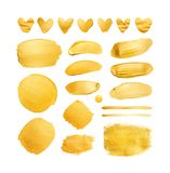 Satz Goldglänzende Bürstenanschläge und -herzen für Sie erstaunliche Projektplanung lizenzfreies stockfoto