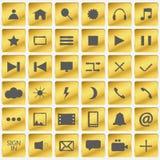 Satz Goldikonen Goldene Knöpfe in den Quadraten Auch im corel abgehobenen Betrag lizenzfreie abbildung