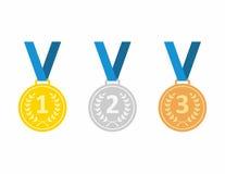 Satz Goldmedaille, -silber und -bronze Medaillenikonen in der flachen Art lokalisiert auf blauem Hintergrund Medaillenvektor Stockfotografie