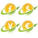 Währungs-Münzen mit Pfeilen Stockfoto