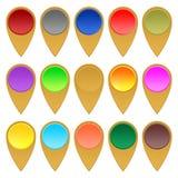 Satz Goldzeiger, die den Standort der Mitte der verschiedenen Farben auf einem weißen Hintergrund aufzeichnen lizenzfreie abbildung