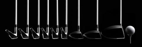 Satz Golfclubs mit einem Ball und einem T-Stück Lizenzfreies Stockbild