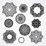 Satz gotische Kreisverzierungsrosen im Vektor, lokalisiert Stockfotos