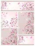 Satz grüßende abstrakte Blumenkarten Stockfotografie