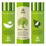 Satz grüne Ökologiefahnen Stockfoto