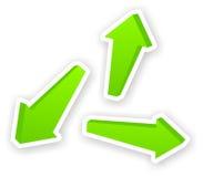 Satz grüne Aufkleber des Pfeiles 3D Lizenzfreies Stockbild