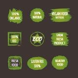 Satz grüne Aufkleber mit dem Lebensmittel Text strengen Vegetariers natürlich Stockfotografie