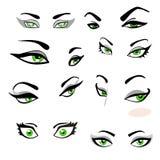 Satz grüne Augen mit Augenbrauen mit dem Ausdruck von Gefühlen Lizenzfreies Stockfoto