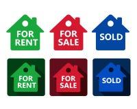Satz grüne der wirklichen Gutshausikone rote und blaue Häuser mit tex stock abbildung