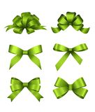 Satz grüne Geschenkbögen Konzept für Einladungs-, Fahnen-, Gutschein-, Glückwunsch- oder Websiteplanvektor vektor abbildung