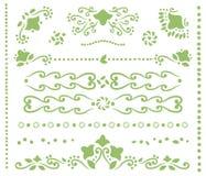 Satz grüne openwork Teiler für Text, Grenzen und Ecken von den Locken, Entwürfe von Blumen, Blätter und Punkte vector Gegenstand- vektor abbildung