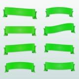 Satz grüne Vektorbänder Stockfotos