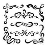 Satz grafische Retro- Elemente, Titel und Ecken Stockbild