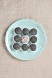 Satz graue vegetarische Süßigkeiten stockbilder