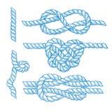 Satz gravierte Knoten und Seile Stockbilder