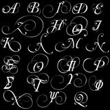 Satz griechische kalligraphische Alphabetbuchstaben des Vektors lokalisiert auf schwarzem Hintergrund Lizenzfreie Stockfotos