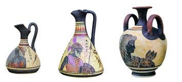 Satz griechische Vasen lokalisiert auf weißem Hintergrund Lizenzfreies Stockbild
