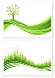 Satz grünen Baum- und Graswachstumsvektor eco Konzeptes Feld des grünen Grases gegen einen blauen Himmel mit wispy weißen Wolken  Lizenzfreie Stockbilder