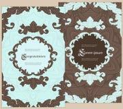 Satz Grußkarten in einer luxuriösen Weinleseart Stockbilder