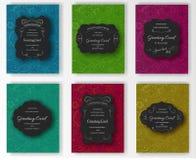 Satz Grußkarten-, Postkarten-, Verpackungs- oder Einladungsdesign der Vektorhippies dekoratives Retro- Abstrakte Schönheitskunst Stockfotos